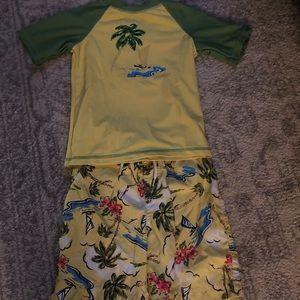 3T  Boys Rashguard and Swim Trunks